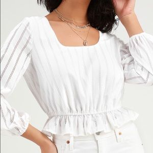NWT The Fifth Label Kite Stripe White Peasant Top